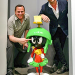 Fri, 05/05/2017 - 9:53pm - Photographer Stephen Russo, left, with artist and actor, James C. Mulligan. Oh, and Marvin Martian...