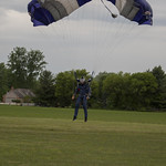 Experienced skydiver Eric Kastanis landing his parachute