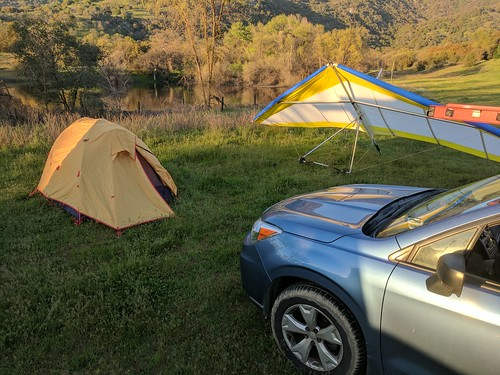 dunlap hang glider gliding car tent sunrise