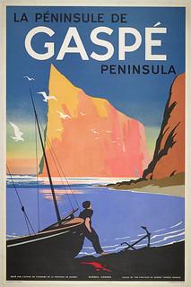 La Péninsule de Gaspé Peninsula, a poster issued by the Quebec Tourist Bureau / Affiche La Péninsule de Gaspé Peninsula, Office du tourisme de la province de Québec