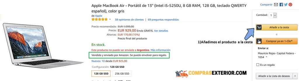nos fijamos que la notebook air sea vendida por amazon
