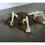 Claire Jackel; Sink and Subside; paper and topsoil; 2009 -