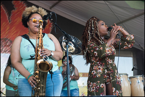 Pinettes Brass Band during Jazz Fest day 6 on May 6, 2017. Photo by Ryan Hodgson-Rigsbee www.rhrphoto.com