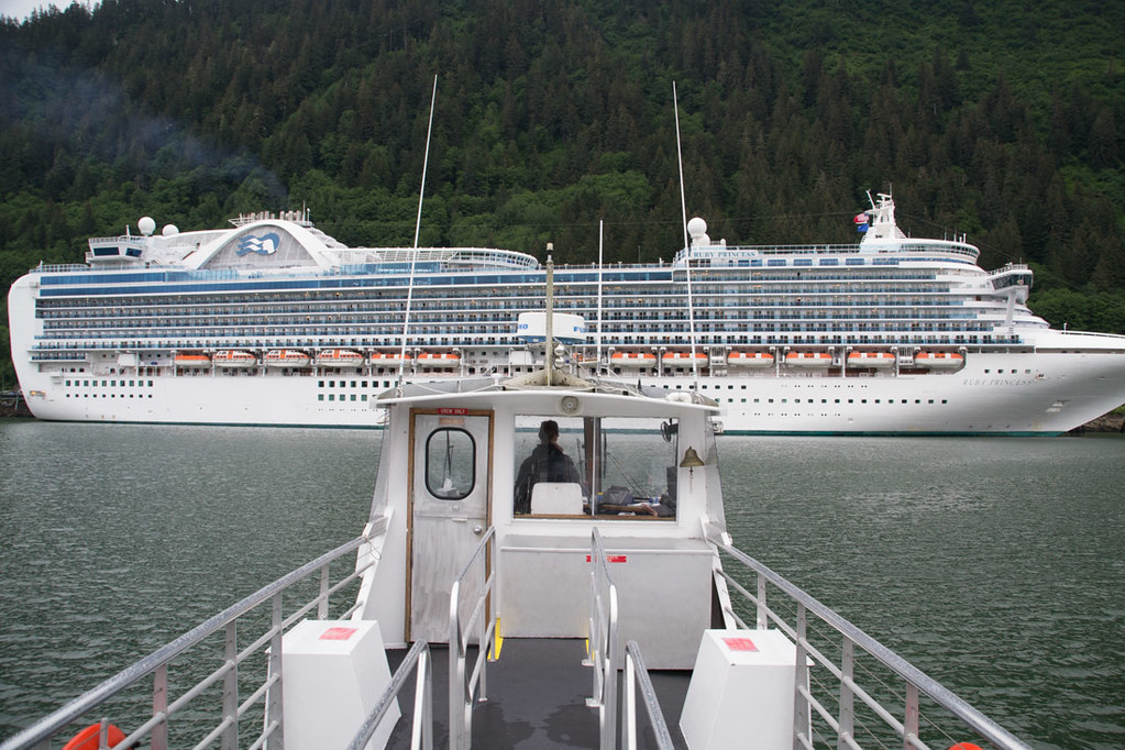 Approaching Ruby Princess ship in Juneau