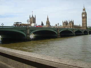 Westminster bridge in London with the houses of parliament in the background