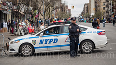 NYPD Precinct 43 Police Officer with Patrol Car, Car Free Earth Day, Washington Heights, New York City