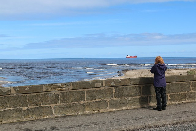 28th April 2017. Ship Spotter gets Stena Natalita at anchor waiting for orders, off Macduff Harbour, Banffshire, Scotland