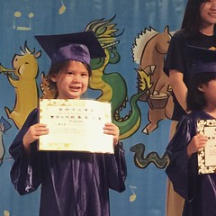 Yesterday Ginelle graduated from Li-Ming Chinese school pre-K class, moving up to the grade school level of learning Mandarin Chinese.