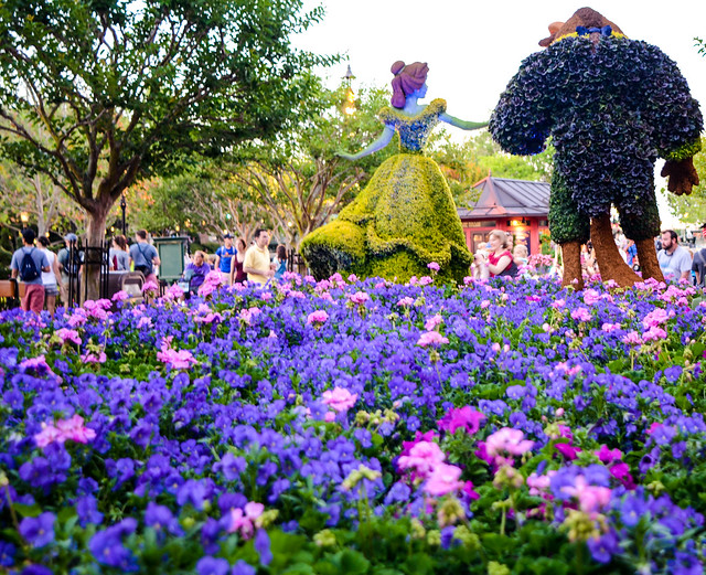 Back of Beauty Beast topiary Epcot