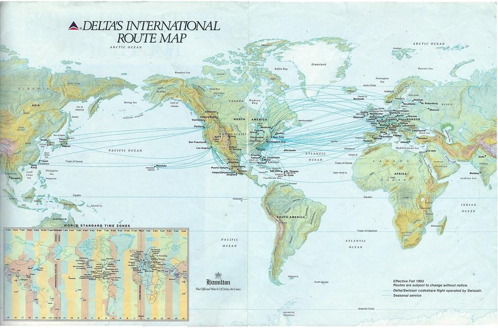 Delta\'s international route map, Fall 1991 | Delta Air Lines… | Flickr