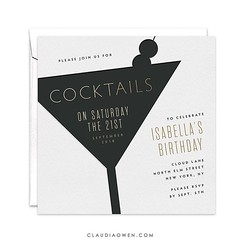 It's the weekend! And that's always a good reason for a few drinks! :tropical_drink: This invitation features a cocktail glass in letterpress effect paired with shimmering gold lettering. The invitation is elegant with a super modern text layout. It has a