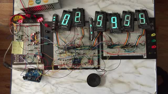 Large VFD Clock Alarm Test