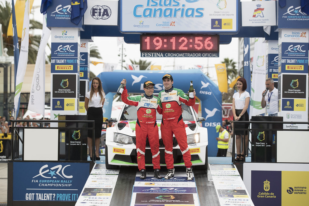GRIEBEL Marijan (DEU), KOPCZYK Stefan (DEU), Skoda Fabia R5, ambiance portrait podium during the 2017 European Rally Championship ERC Rally Islas Canarias, El Corte Inglés,  from May 4 to 6, at Las Palmas, Spain - Photo Gregory Lenormand / DPPI