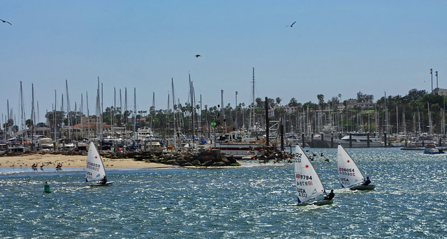 Sailing into the Wind, Santa Barbara Harbor, California