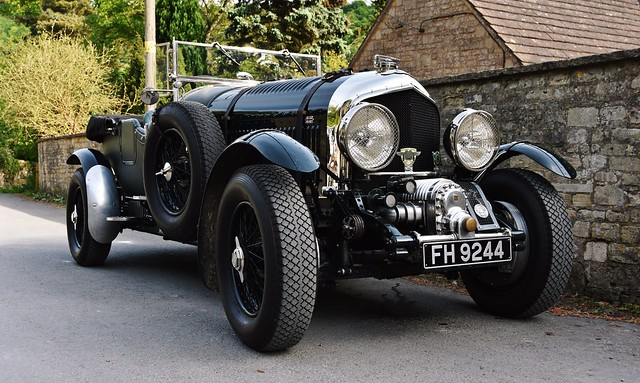 A 1934 4.5 Litre Bentley seen today in the village of Sheepscombe in Gloucestershire