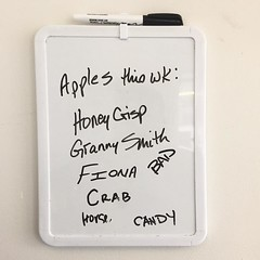 I work with a bunch of comedians. 😆😆😆#lunchroom #list #apples