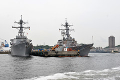 USS John S. McCain (DDG 56) and USS Curtis Wilbur (DDG 54) sit along the pier at Fleet Activities Yokosuka, Japan, May 16. (U.S. Navy/MC2 Nathan Burke)
