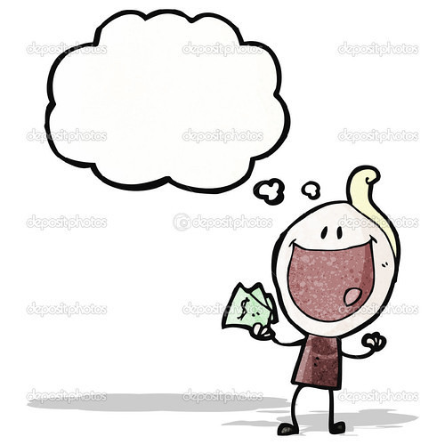 cartoon happy man holding cash
