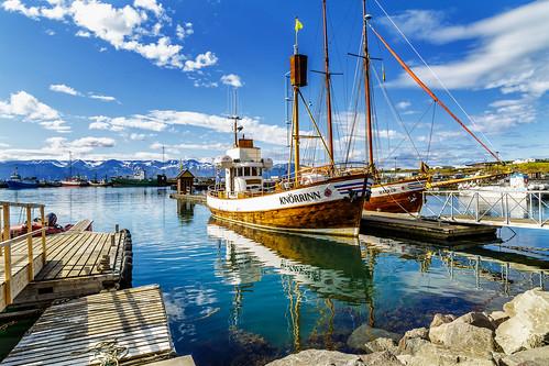 landscape harbour húsavík knörrinn reflections mountains sky water