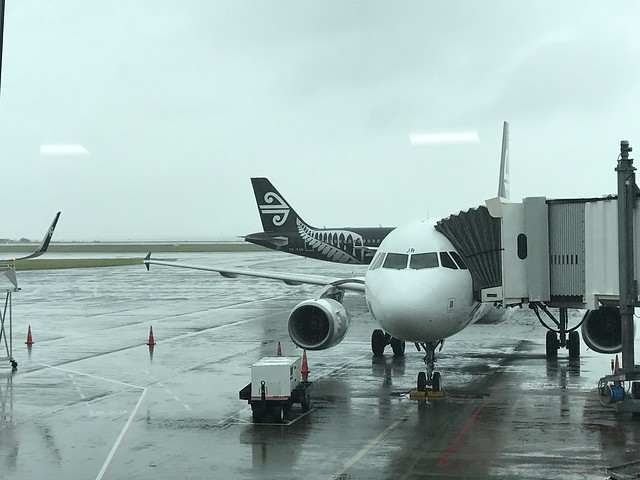 Plane to Queenstown on a rainy day in Auckland