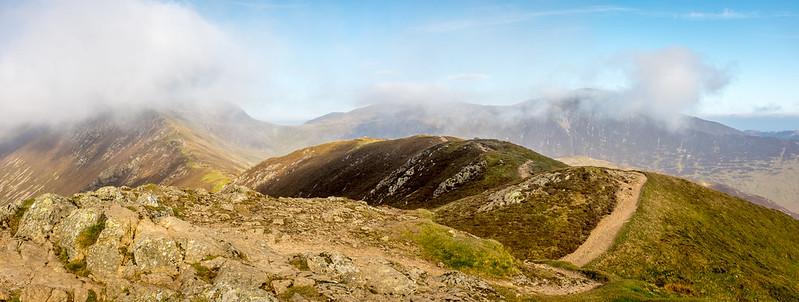 Scar Crags to the left, Grisedale Pike poking through the cloud to the right - the final summit of the day.
