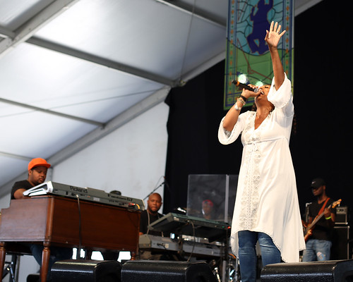 Kim Che're in the Gospel Tent on Day 6 of Jazz Fest - May 6, 2017. Photo by Bill Sasser.