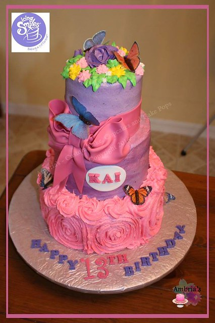 Awesome Marble cake with a few fondant details and chocolate and wafer paper butterflies by Ambria's - Custom cakes, cupcakes and cake pops