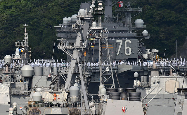 The USS Ronald Reagan aircraft carrier is moored at its home port in Yokosuka, Kanagawa Prefecture