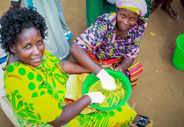 photo of women making soap