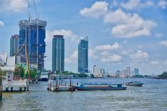 Chao Phraya river seen from Saphan Thaksin pier in Bangkok, Thailand