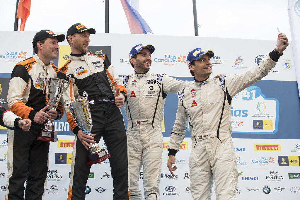 05 LUKYANUK Alexey (RUS), ARNAUTOV Alexey (RUS),  Ford Fiesta R5,MAGALHAES Bruno (prt), MAGALHAES Hugo (prt), skoda fabia R5, ambiance portrait Podium during the 2017 European Rally Championship ERC Rally Islas Canarias, El Corte Inglés,  from May 4 to 6, at Las Palmas, Spain - Photo Gregory Lenormand / DPPI