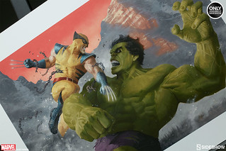 Sideshow Collectibles【浩克VS金剛狼】雙雄對決畫作 Hulk and Wolverine 'First Appearance' Variant painting