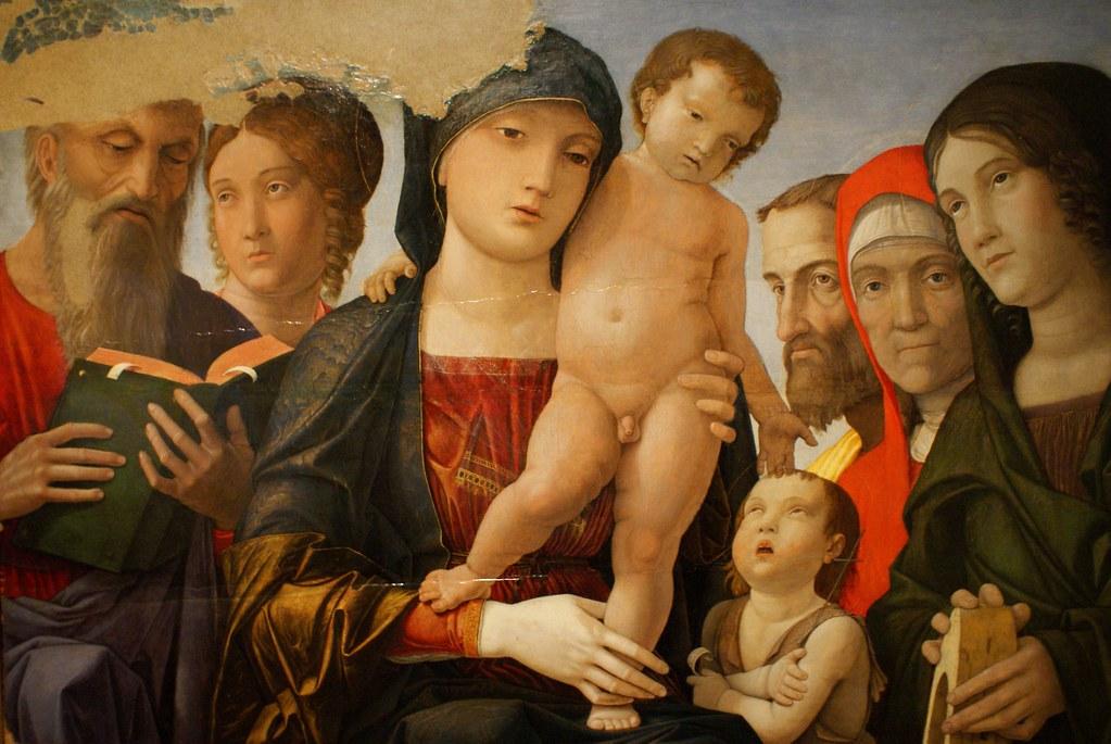 """""""Madonna con il bambino e sei santi"""", tableau de Mantegna à la Galerie Saubada à Turin."""