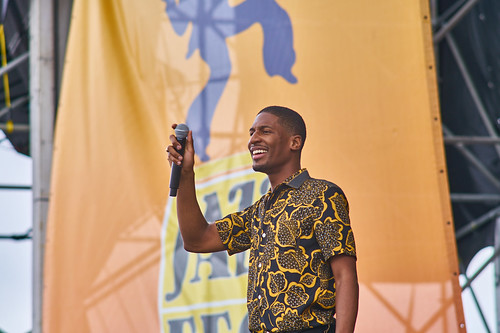 Jon Batiste on the Acura Stage. Saturday, April 29, 2017 - Jazz Fest Day 2. Photo by Eli Mergel.