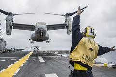 In this file photo, Aviation Boatswain's Mate (Handling) Airman Paul Clark guides an MV-22 Osprey off the flight deck of USS America (LHA 6), during training in May. (U.S. Navy/MCSN Chad Swysgood)