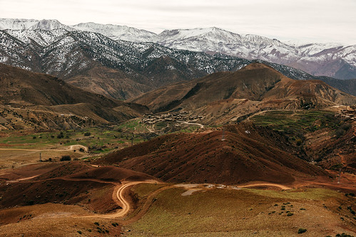 landscape scenery travel nature montains africa morocco maroc atlas range panorama view village