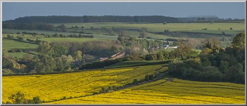 1m61 220107 meridian unit east midlands trains train harringworth viaduct rape seed st pancras melton mowbray landscape scenery