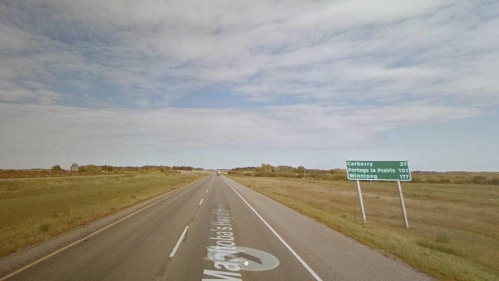 Car berry 27 km, Winnipeg 177 km, Portage de La Prairie somewhere in between. It's a long road. #ridingthroughwalls #xcanadabikeride #googlestreetview