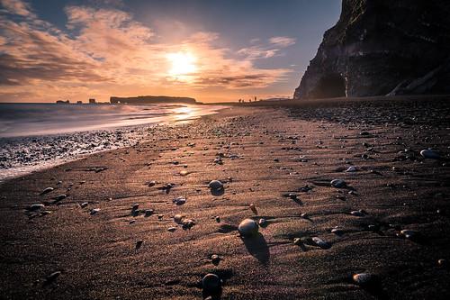 iceland sand landscape sunset travel nature black seascape reynisfjara beach rocks sea is onsale