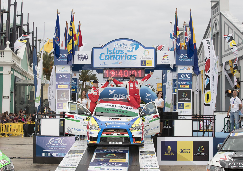 ERDI junior Tibor (HUN), GYORGY Papp (HUN), Mitsubishi lancer evo X, ambiance portrait podium, during the 2017 European Rally Championship ERC Rally Islas Canarias, El Corte Inglés,  from May 4 to 6, at Las Palmas, Spain - Photo Gregory Lenormand / DPPI