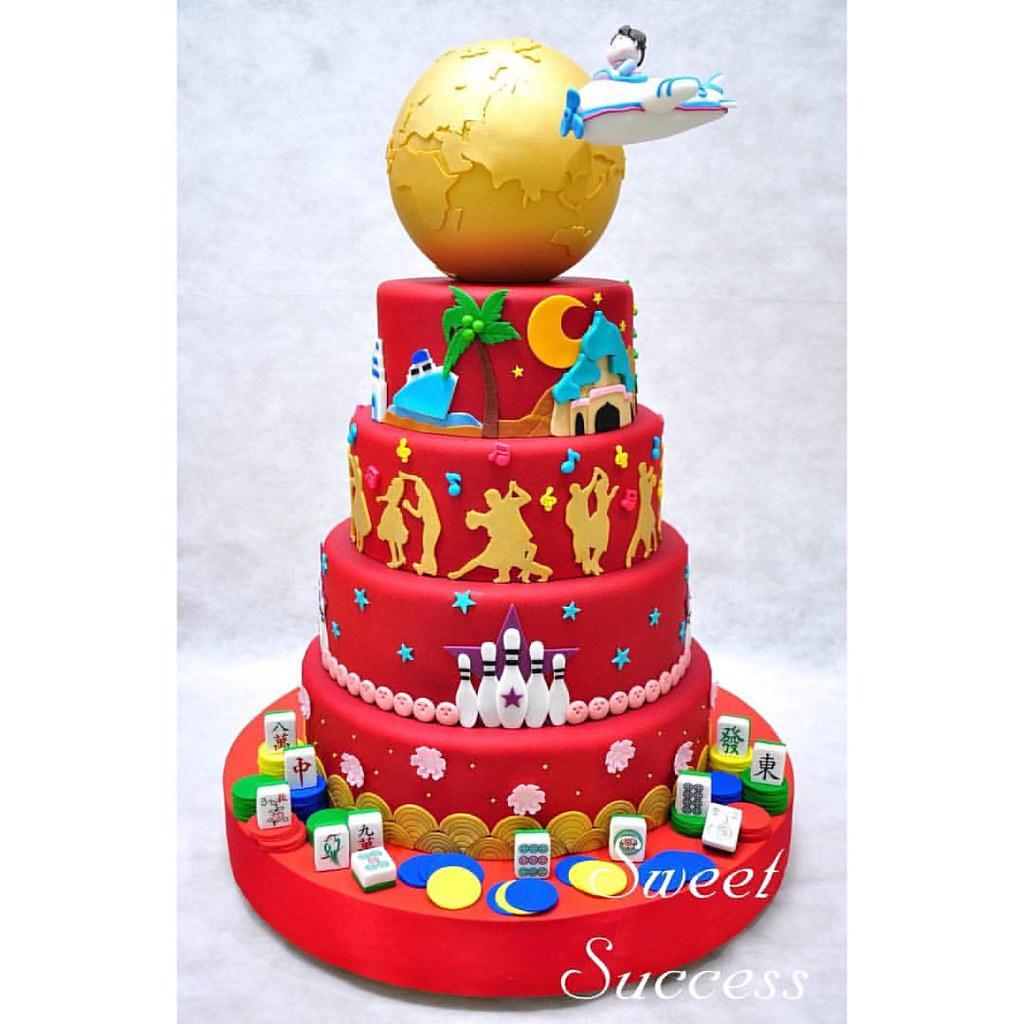Chinese Birthday Cake Travel Recreation Theme A Photo On