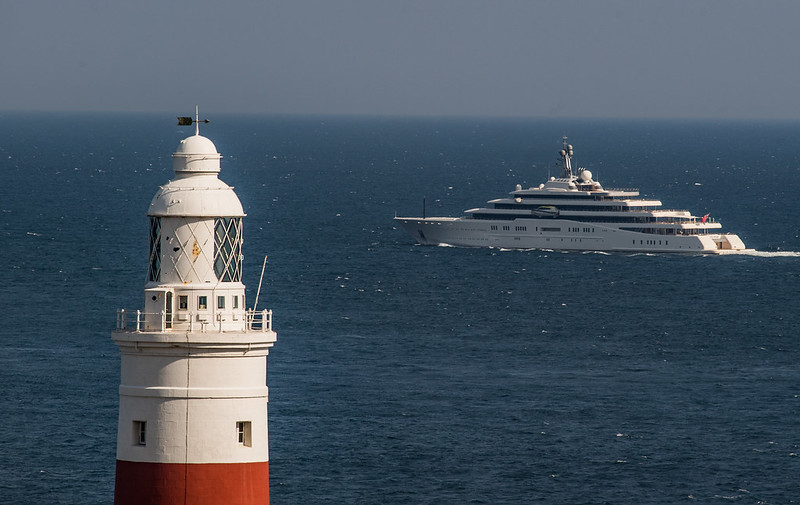 Eclipse (Roman Abramovich's boat) departing Gibraltar