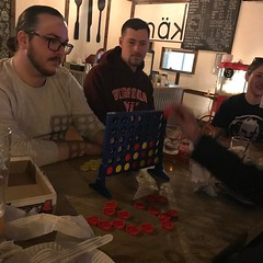 Had a blast at our team's office night! Good old connect four!