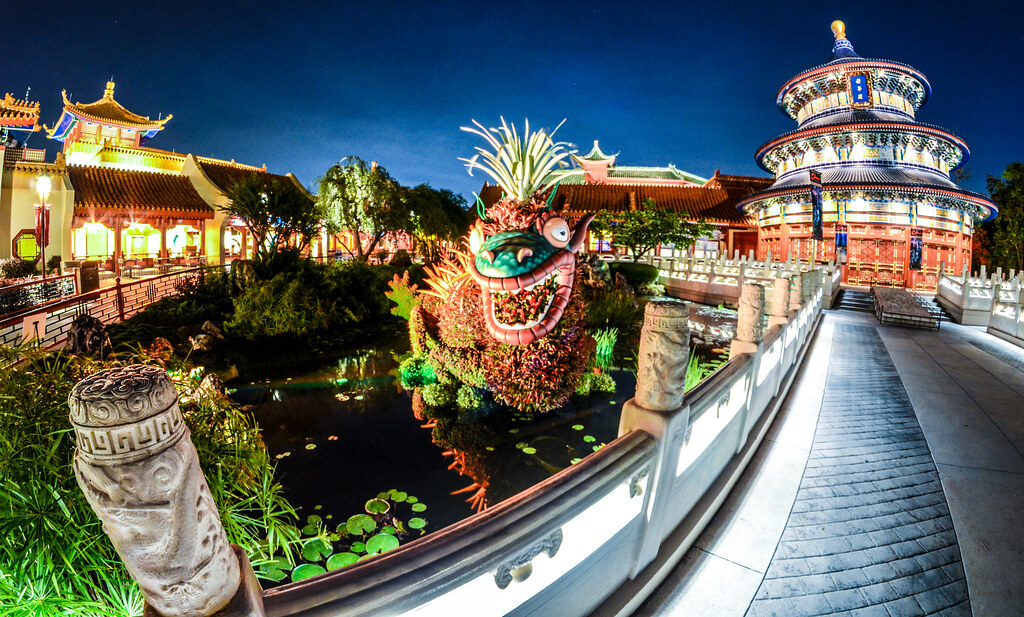 China dragon Epcot night