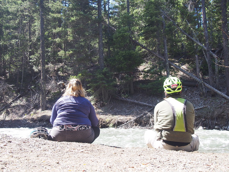 Unable to Cross the West Fork Teanaway River: The riders of the September 2015 BQ Un-meeting crossed here according to their GPS track.  Unfortunately, the river was much higher due to snow melt, so we weren't able to find a safe crossing point, and had to backtrack some.  Jill and I chilled here at the water's edge for a moment.