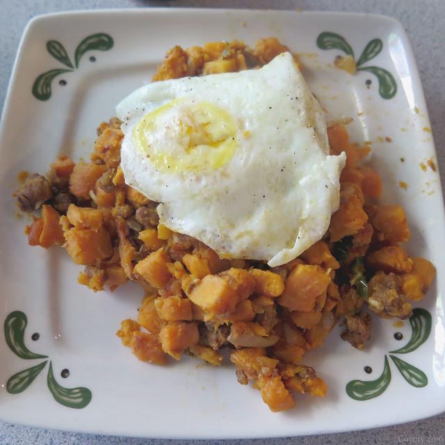 Sweet potato and chorizo hash with fried egg