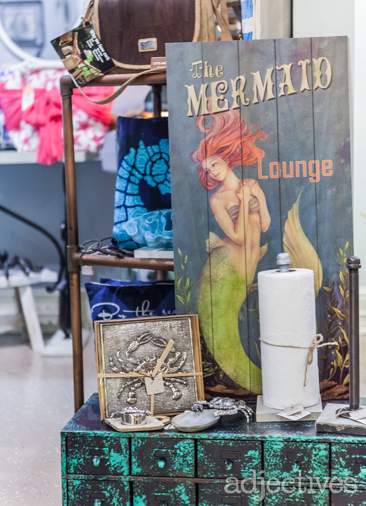 Painted Wood Mermaid Sign and beach decor at Adjectives Winter Park by Sprinkles Gifts