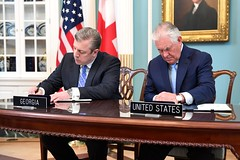 Secretary TIllerson and Georgian Prime Minister Kvirikashvili Participate in a Signing Ceremony for the U.S.-Georgia General Security of Information Agreement in Washington