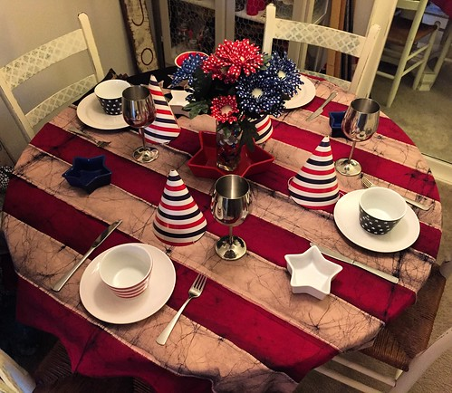 Tapestry Flag Memorial Day Table setting
