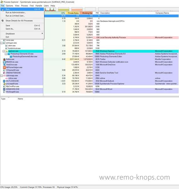 Sysinternals Process Explorer 120